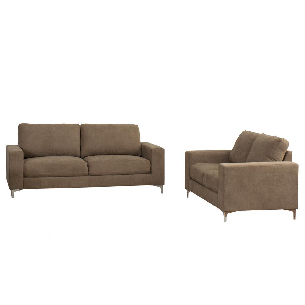 CorLiving Cory 2 Piece Contemporary Brown Chenille Fabric Sofa Set