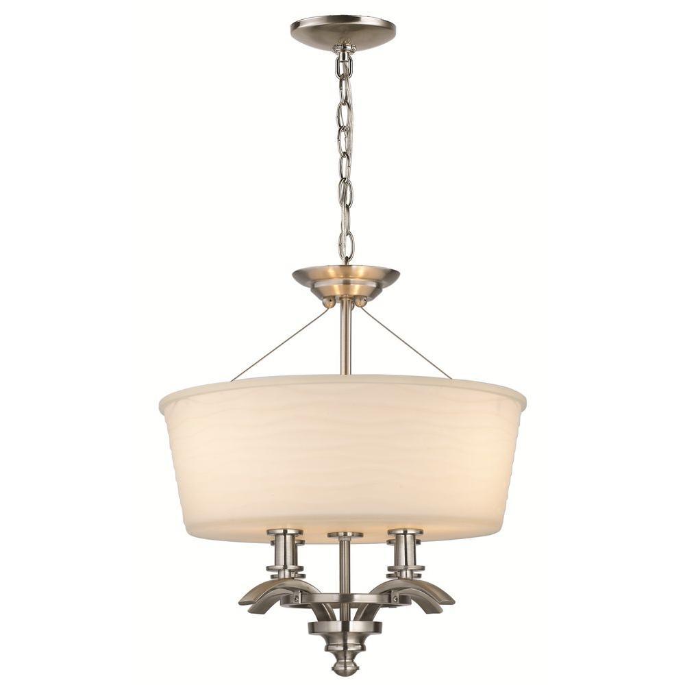 Hampton Bay Mayport Collection 3-Light Brushed-Nickel Hanging Large Pendant