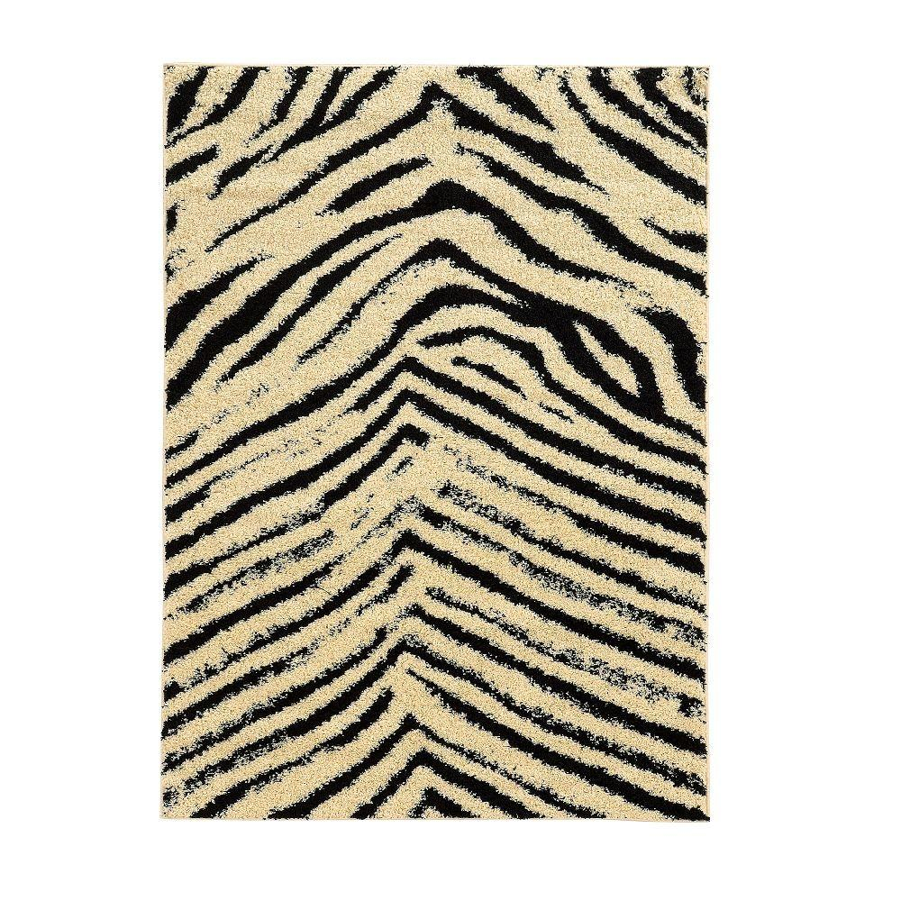 Linon Home Decor Moroccan Collection Sahara Ivory and Black 8 ft. x 10 ft. Indoor Area Rug