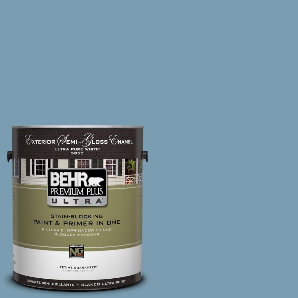 BEHR Premium Plus Ultra 1-Gal. #UL230-17 Blue Cascade Semi-Gloss Enamel Exterior Paint
