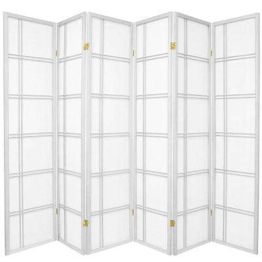 6 ft. White 6-Panel Room Divider