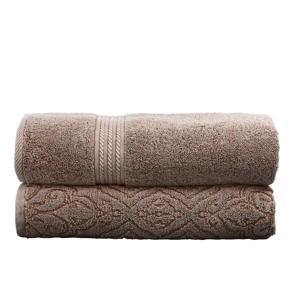 Amrapur 2-Pack Cotton Bath Towel Set in Mocha