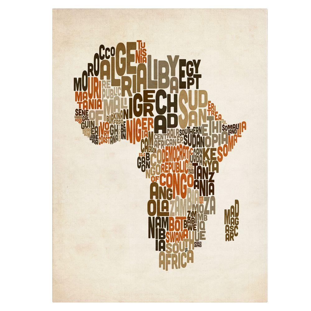 null 30 in. x 47 in. Africa Text Map Canvas Art