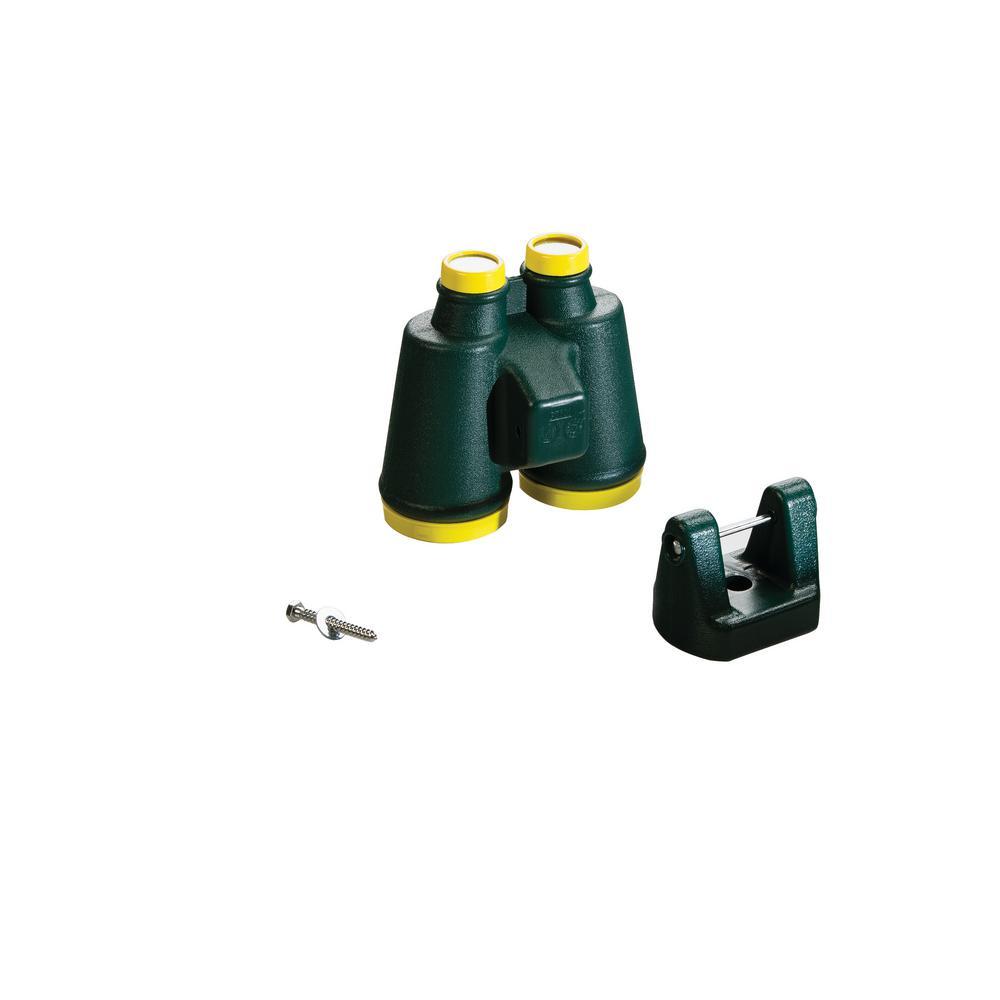 Large Plastic Binoculars- Green with Yellow Lens Ring