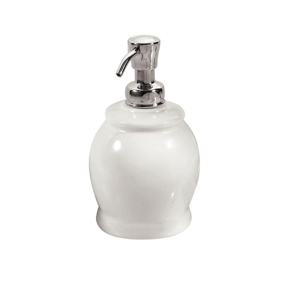 Interdesign York 2 Short Soap Pump Dispenser In White And Chrome