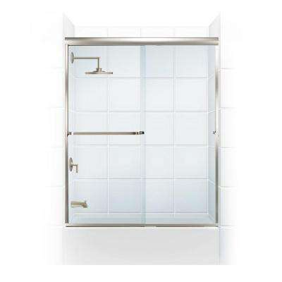 Paragon 3/16 B Series 64 in. x 57 in. Semi-Framed Sliding Tub Door with Towel Bar in Brushed Nickel and Clear Glass