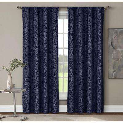 Semi-Opaque Leila Printed Cotton Extra Wide 96 in. L Rod Pocket Curtain Panel Pair, Indigo (Set of 2)