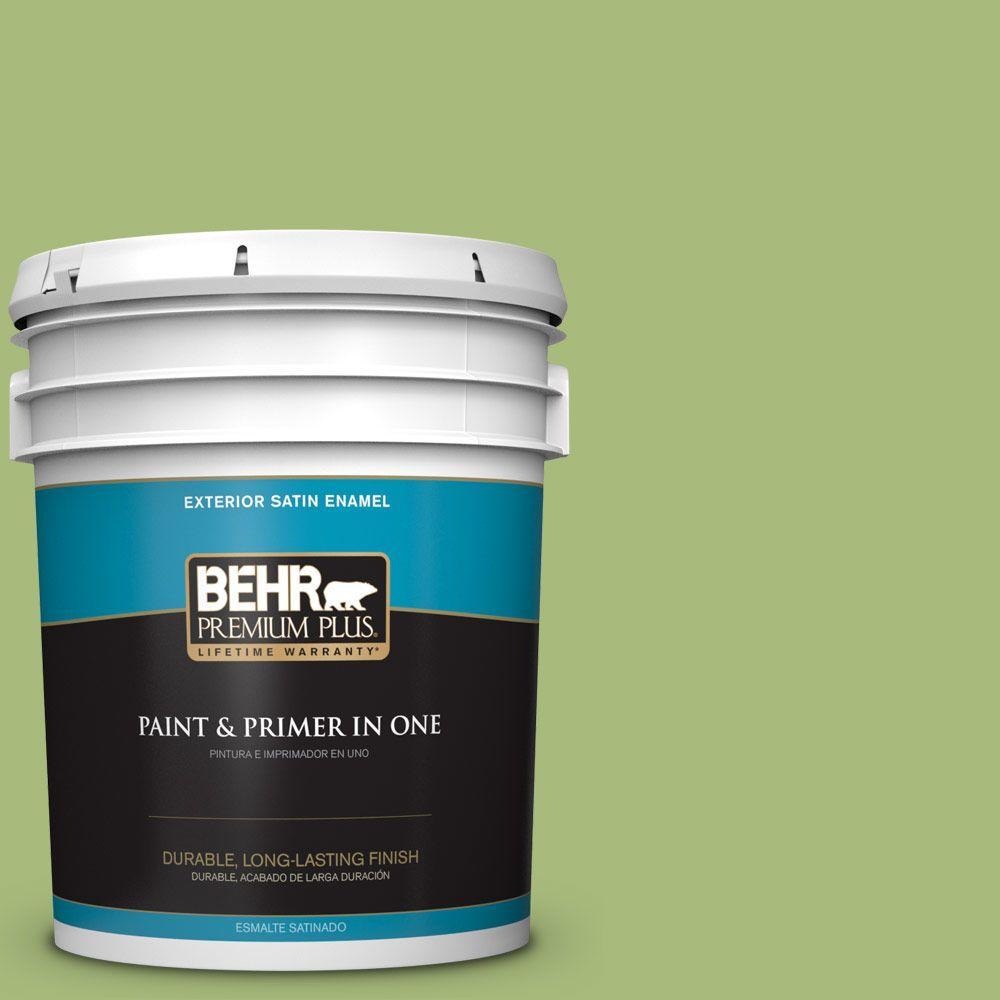 BEHR Premium Plus 5-gal. #P370-5 Lazy Caterpillar Satin Enamel Exterior Paint