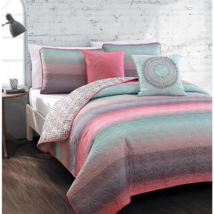 Cypress Coral/Blue Twin Quilt Set