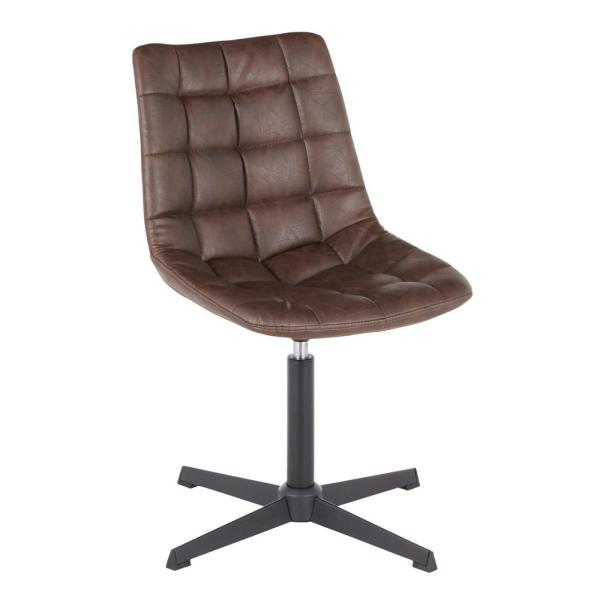 Lumisource Quad Dark Brown Faux Leather Swivel Chair with 4-Star Metal Base