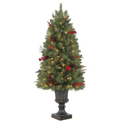 4 ft. Winslow Potted Artificial Christmas Tree with 100 Clear Lights