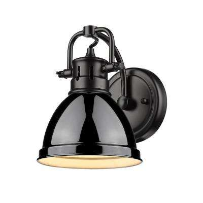 Duncan Collection Black 1-Light Bath Sconce Light with Black Shade
