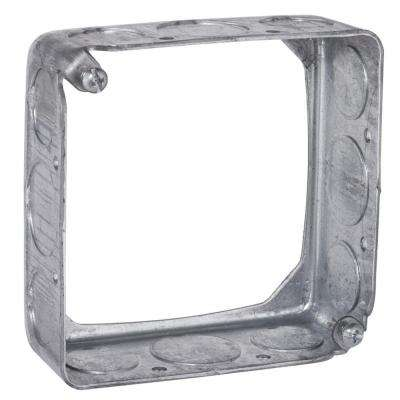 4 in. Square Drawn Extension Ring, 1-1/2 in. Deep with 1/2 in. and 3/4 in. KO's (50-Pack)