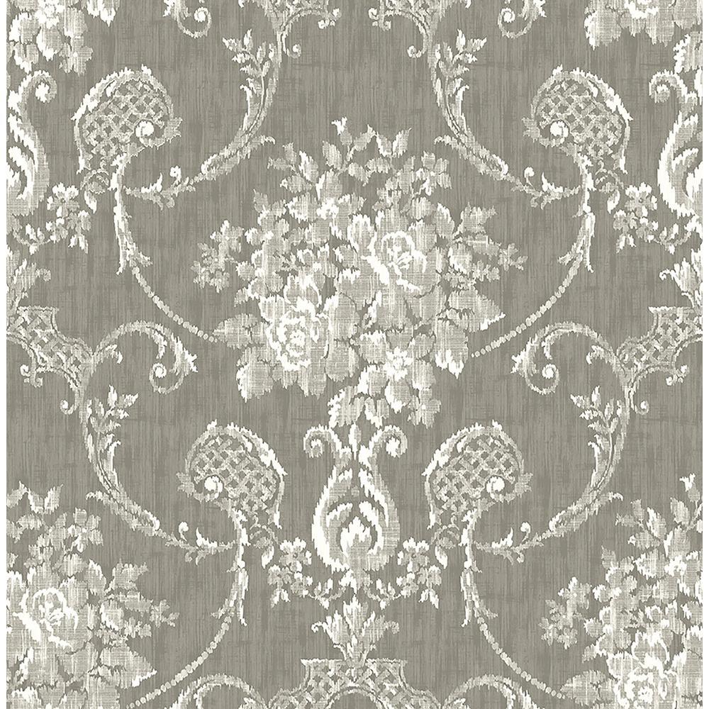 A Street Winsome Grey Floral Damask Wallpaper Sample 2702 22749sam