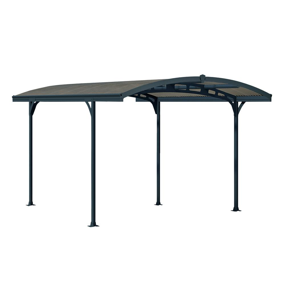 Palram Atlas 5000 9 ft. 5 in. W x 16 ft. 3 in. L x 8 ft. H Carport with Corrugated Solar Gray Polycarbonate Roof Panels