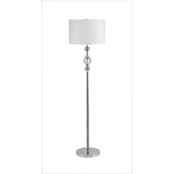 Leona 62.5 in. Crystal and Chrome Floor Lamp with White Linen Shade