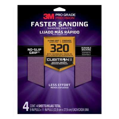 Pro Grade Precision 9 in. x 11 in. 320 Grit X-Fine Advanced Sanding Sheets (4-Pack)