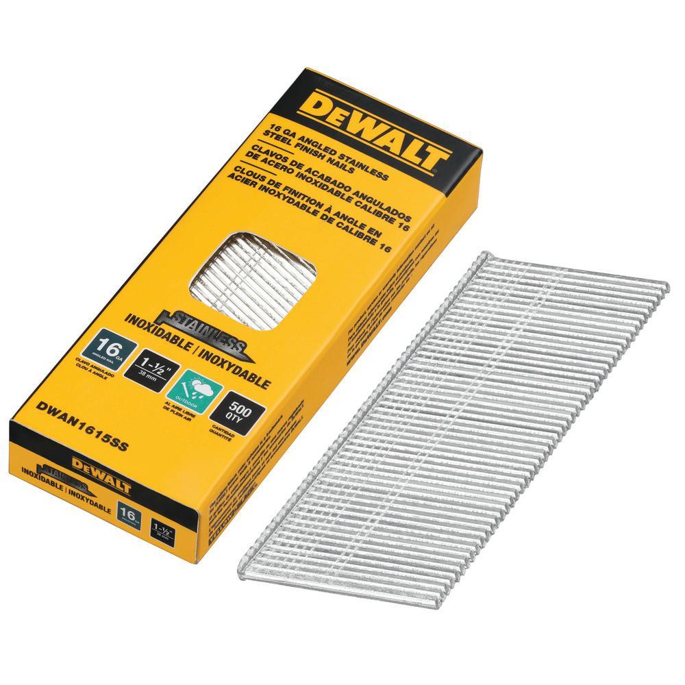 Dewalt DCA16150 1-1//2in 20 Degree Angled 16 Gauge Galvanized Finish Nail 2,500