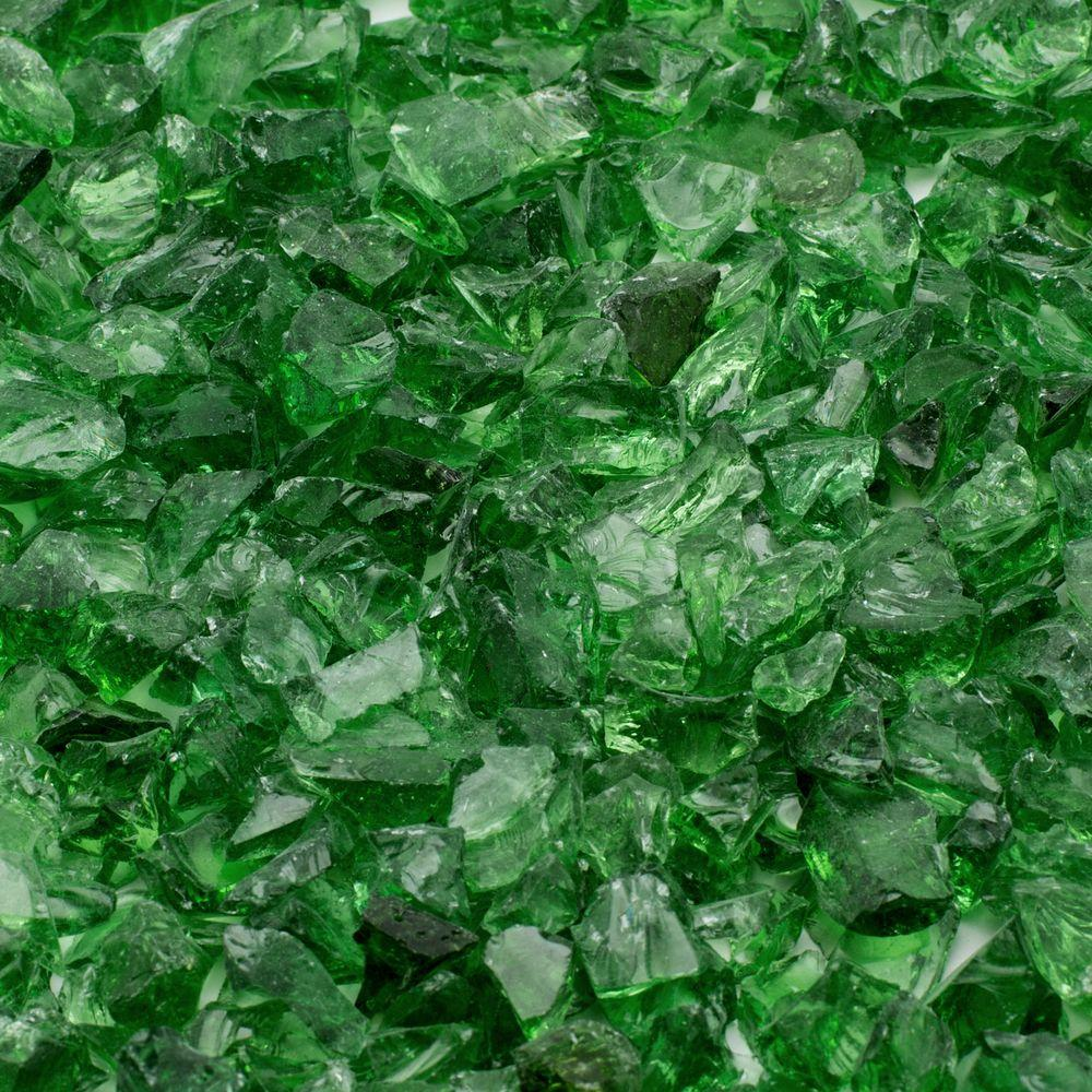 1/4 in. 10 lb. Green Landscape Fire Glass