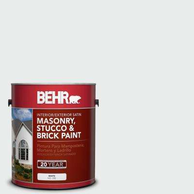 1 gal. #BWC-12 Vibrant White Satin Interior/Exterior Masonry, Stucco and Brick Paint