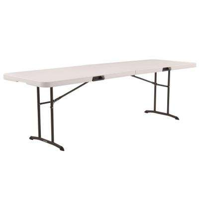 Almond Plastic Portable Fold In Half Folding Banquet Table