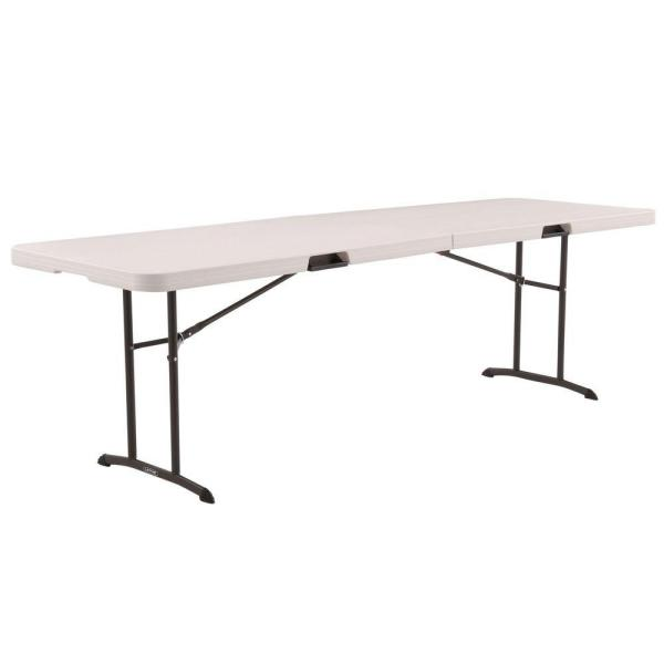 96 in. Almond Plastic Portable Fold-in-Half Folding Banquet Table
