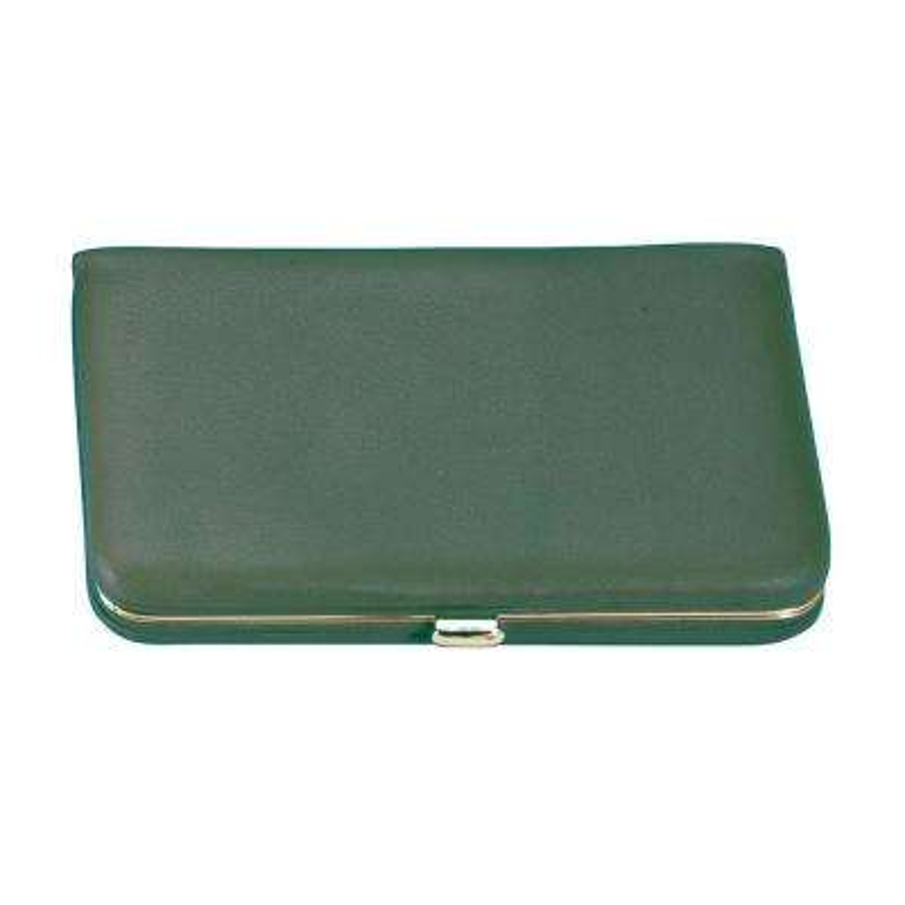 Genuine Leather Framed Business Card Case Wallet, Green