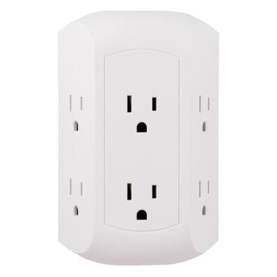 Grounded 6-Outlet Wall Tap Surge Protector, Adapter Spaced Outlets