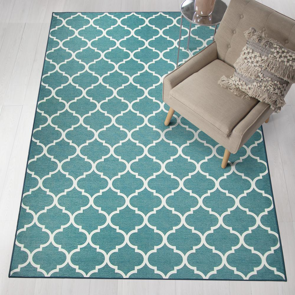 Ruggable Washable Moroccan Trellis Teal 5 Ft X 7 Stain Resistant Area Rug