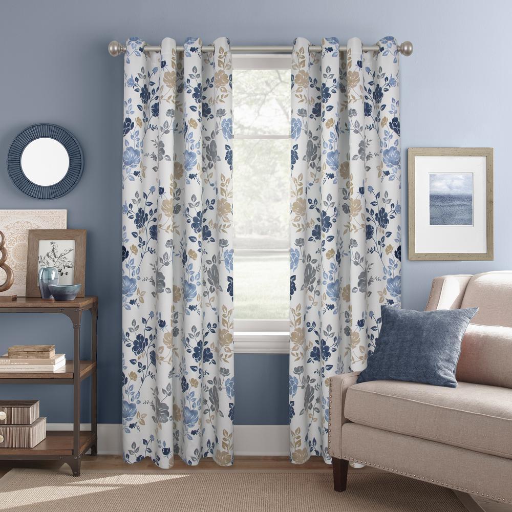"""Room Darkening Amelie Floral Indigo Grommet Curtain Panel 52"""" W x 84"""" L"""