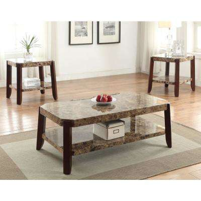 Dacia Faux Marble and Brown Coffee Table