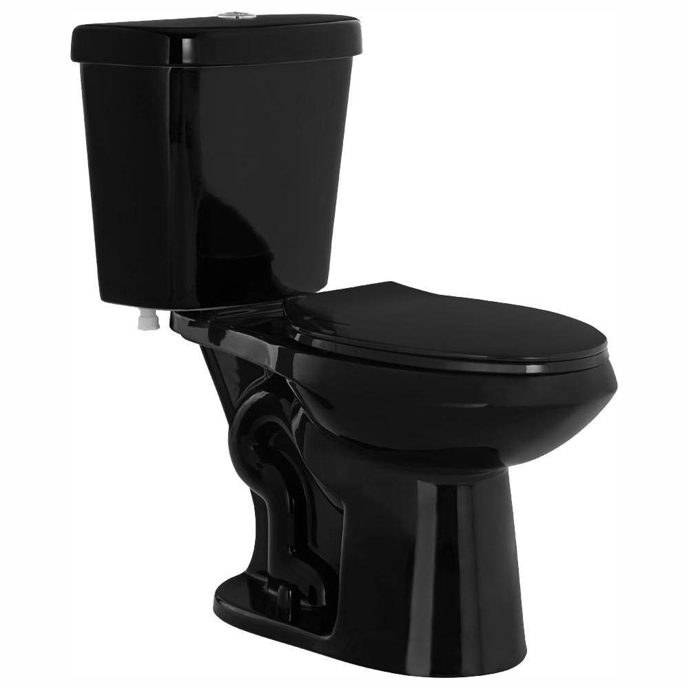 GLACIER BAY 2-piece 1.1 GPF/1.6 GPF High Efficiency Dual Flush Elongated Toilet in Black