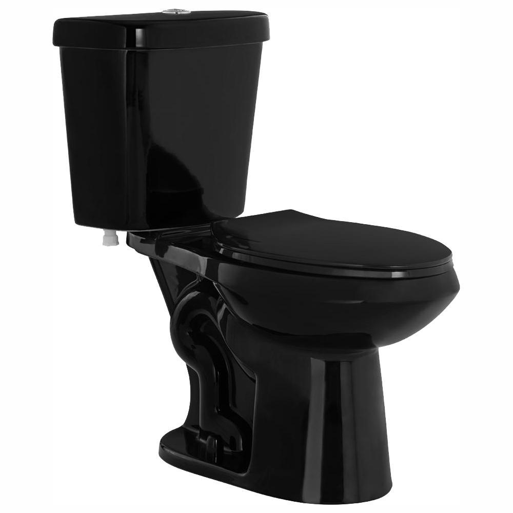2-piece 1.1 GPF/1.6 GPF High Efficiency Dual Flush Elongated Toilet in Black