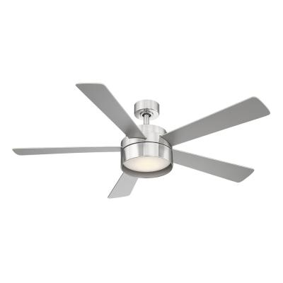 Whitehaven 52 in. LED Integrated Brushed Nickel Light 5 Blade Ceiling Fan with Remote