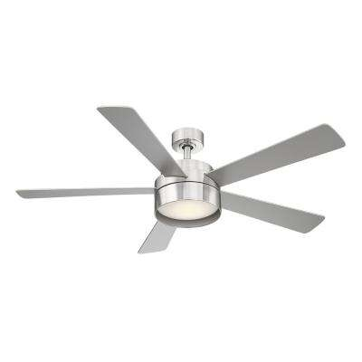 Whitehaven 52 in. LED Integrated Light 5 Blade Ceiling Fan Brushed Nickel with Remote