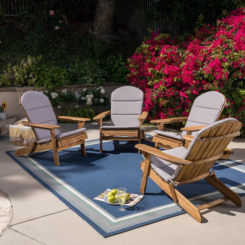 Malibu Natural Wood Adirondack Chair with Grey Cushion (4-Pack)