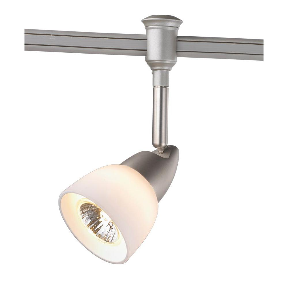 Exceptional Commercial Electric 1 Light Brushed Nickel Flexible Track Lighting Head  With White Glass Shade