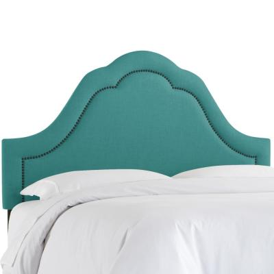 Max Linen Laguna Full Arch Inset Headboard with Black Nail Buttons