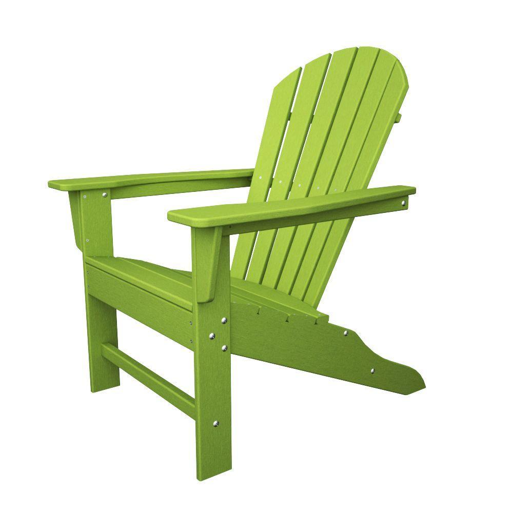 POLYWOOD South Beach Lime Plastic Patio Adirondack Chair