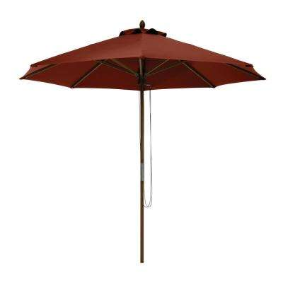 Montlake 9 ft. Bamboo Market Patio Umbrella in Heather Henna
