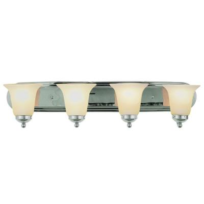 Cabernet Collection 4-Light Polished Chrome Bath Bar Light with White Marbleized Shade