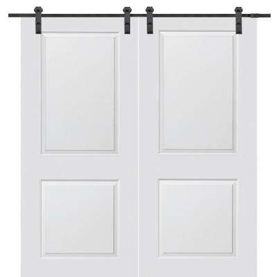 72 in. x 84 in. Smooth Carrara Primed Molded MDF Sliding Barn Door with Black Hardware Kit