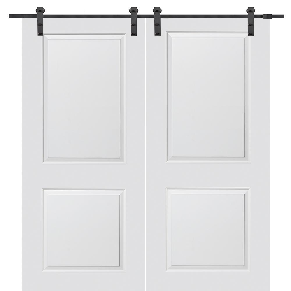 64 in. x 80 in. Primed Molded MDF Carrara Barn Door with Sliding Door Hardware Kit
