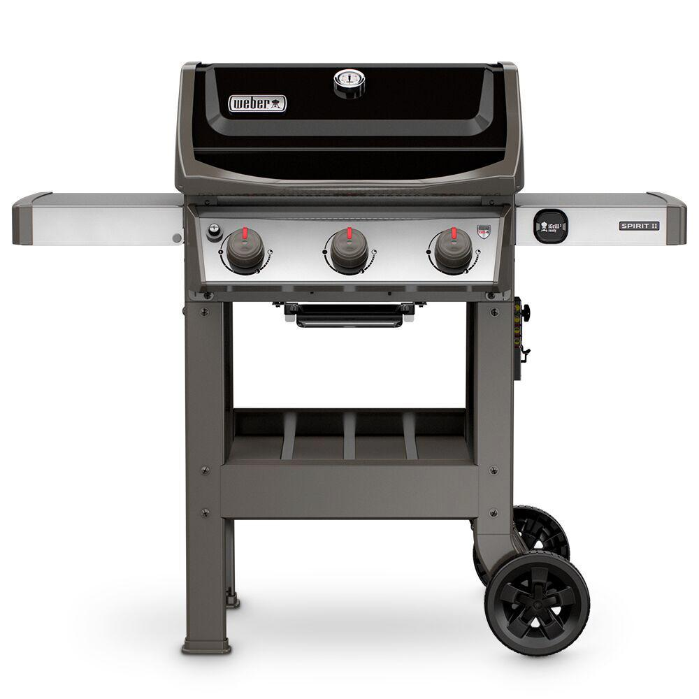 weber spirit ii e 310 3 burner propane gas grill in black 45010001 the home depot. Black Bedroom Furniture Sets. Home Design Ideas