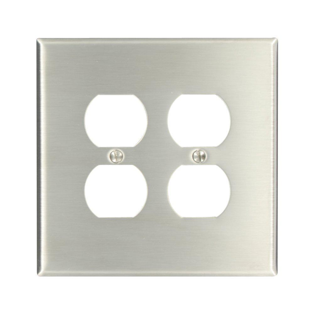 2gang 2 duplex receptacles largejumbo size wall plate stainless steel