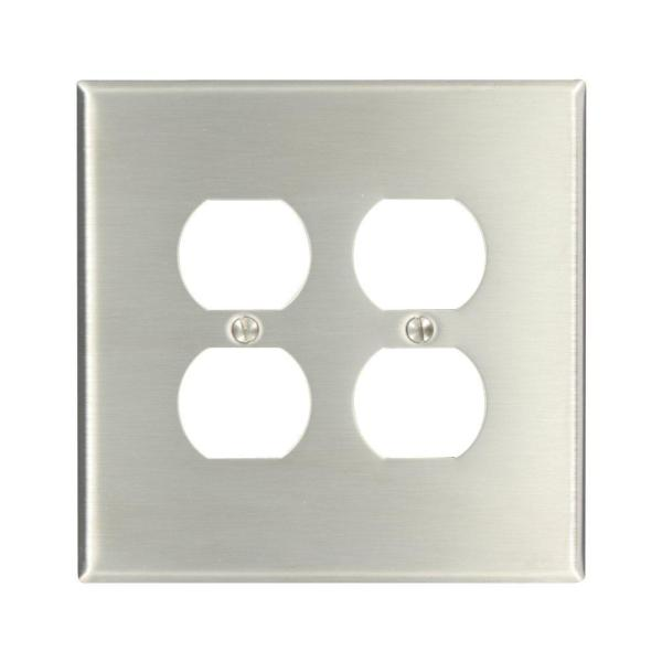 Stainless Steel 2-Gang Duplex Outlet Wall Plate (1-Pack)