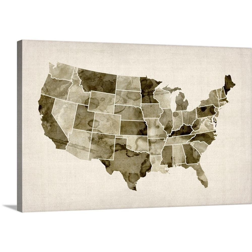 United States Map Canvas Wall Art.Greatbigcanvas United States Watercolor Map By Michael Tompsett