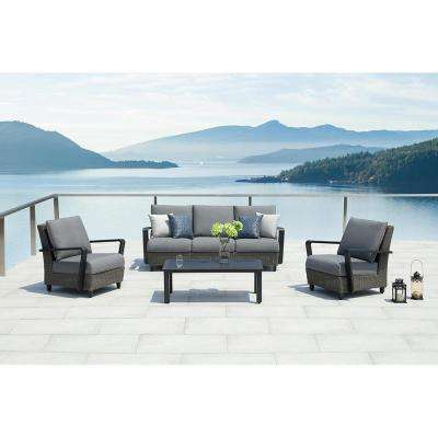 Augusta Charcoal 4-Piece Aluminum Patio Conversation Set with Sunbrella Gray Cushions