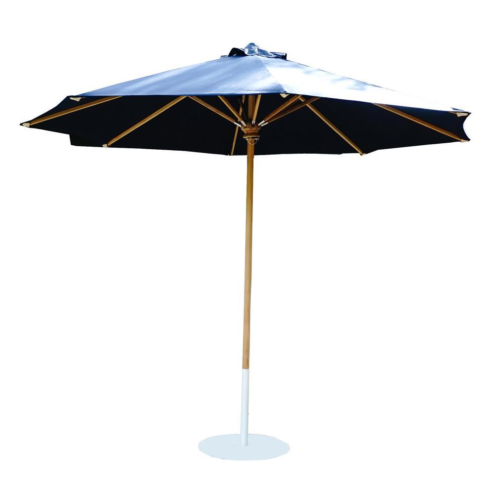 10 ft. Palmetto Teak Adjustable Market Outdoor Patio Umbrella in Navy