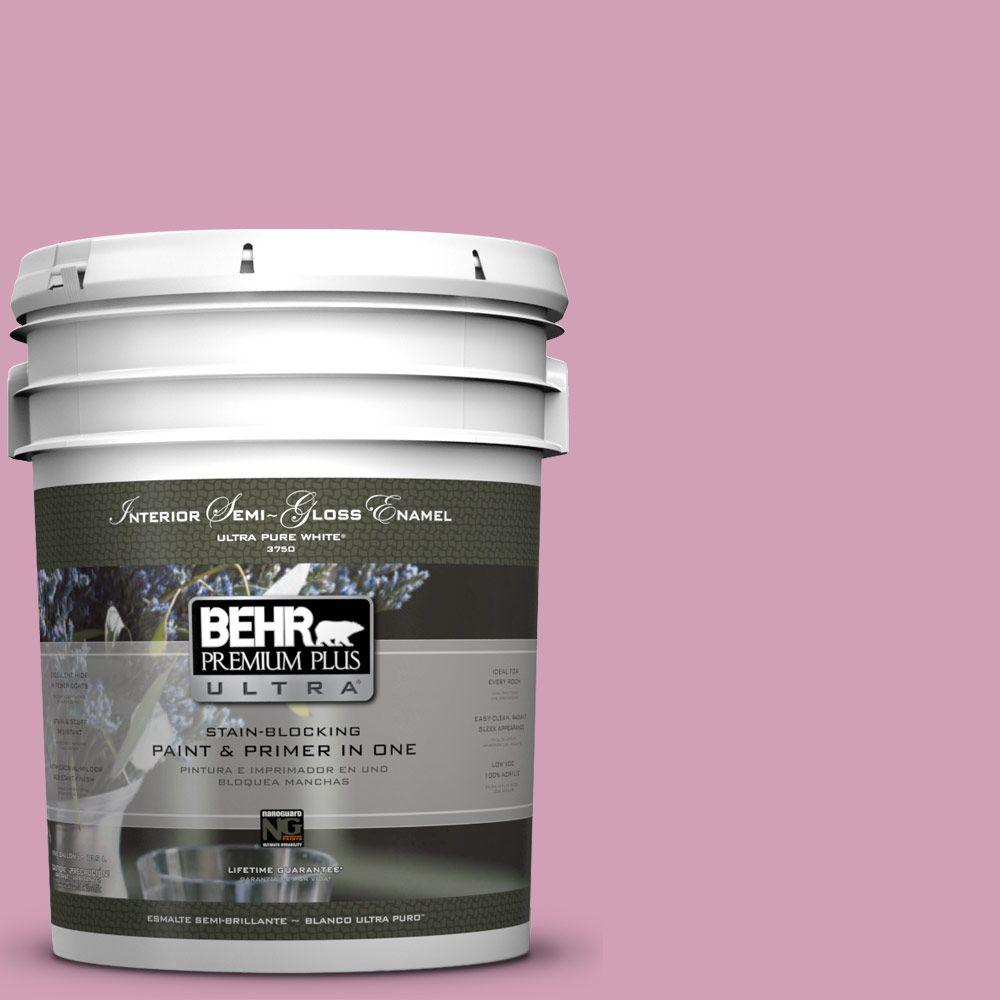 BEHR Premium Plus Ultra 5-gal. #M130-4 Raspberry Smoothie Semi-Gloss Enamel Interior Paint